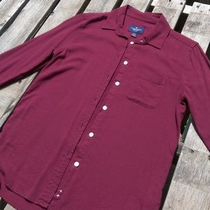 Burgundy Wine Button Up Long Sleeve